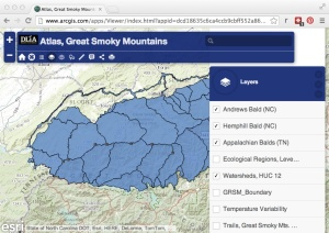 Map image of DLIA demo map application, depicting Great Smoky Mountains National Park.